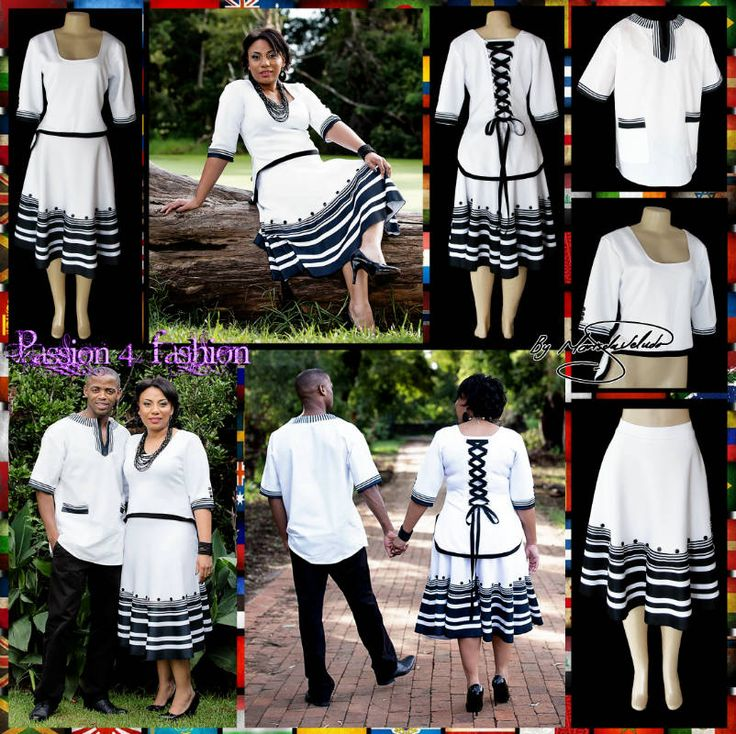Black and white Xhosa 2 piece modern traditional dress. Top in a high-low design with elbow length sleeves and a lace up back detail. Men's matching shirt.