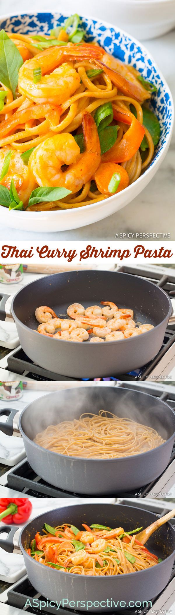 THE BEST One Pot Thai Curry Shrimp Pasta on ASpicyPerspective.com #onepotmeal