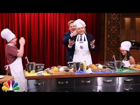 THE TONIGHT SHOW STARRING JIMMY FALLON | ▶ Tonight Show MasterChef Junior Cook-Off with Gordon Ramsay | Published on Nov 20, 2015 | Gordon Ramsay judges as Jimmy Fallon competes against 10-year-old chefs, Nate and Amaya, to make the most mouthwatering crepe in three minutes.