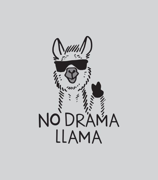 """No Drama Llama"" t-shirt.  Graphic tees for men, women and kids"