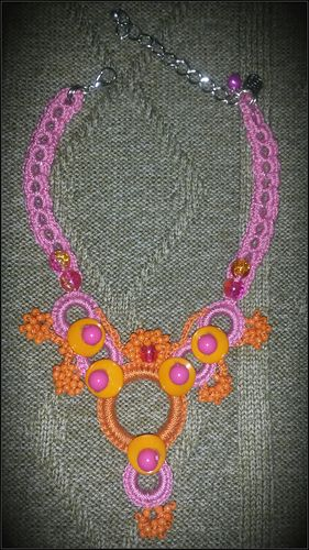 Orange and pink girl's crochet necklace