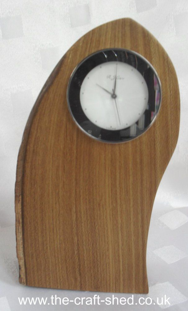 Unique FREESTANDING LABURNUM (wood) MANTLE CLOCK with FACET FACE and BURR EDGE £12.99