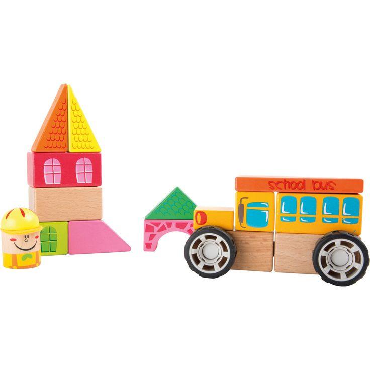 Jucăria educativă din lemn este distractivă și versatilă deopotrivă. Prevazut cu un sistem de asamblare ușor, autobuzul școlar este pregătit rapid pentru a transporta elevii în siguranță la școală. Copiii pot de asemenea stivui cărămizile pentru a construi școala.