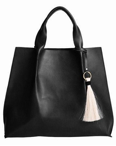OLIVEVE maggie tote in black saddle leather with horsehair tassel. #oliveve #bags #hand bags #fur #tote #