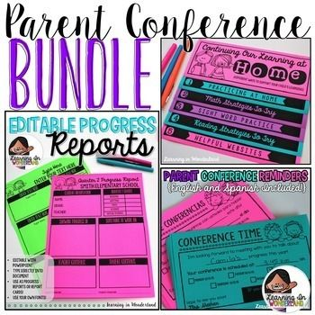Parent Teacher Conference Forms (The Bundle) This parent teacher conference bundle contains all of my conference resources in one download! My parent teacher conference reminders are editable and come in both English and Spanish. The progress/conference report, and flipbook, have fully editable text.