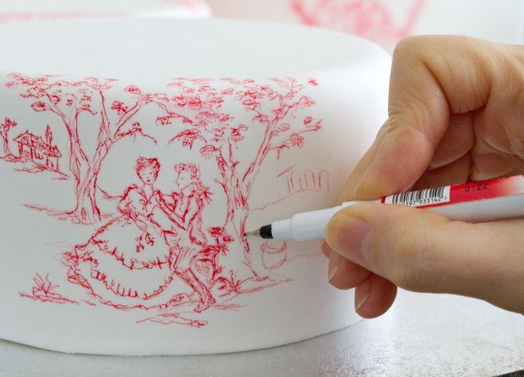 Making off Toile de Jouy Cake