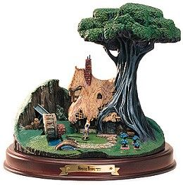 WDCC Disney Classics Sleeping Beauty The Woodcutter's Cottage #WDCCDisneyClassics #Art. Props: Cast in pewter and hand-painted. Creek: Resin water. Woodcutter's Cottage was released as part of the Enchanted Places.  Sculpture comes with a wood base with engraved brass nameplate.  Retired 09/99.