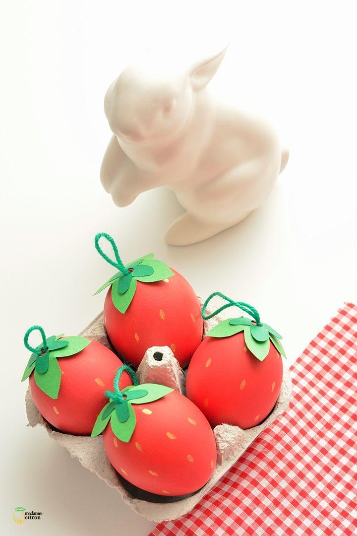 DIY strawberry easter eggs