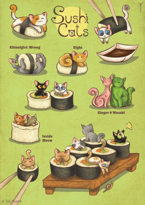 Sushi Cats Print by TrolladrielCreations on Etsy, $18.00