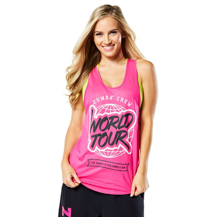 WORLD TOUR LOOSE TANK - SHOCKING PINK --------------------- Rep your favourite rhythms in the World Tour Loose Tank! This fan favourite features ultra soft and lightweight fabric that will keep you dancing on and on and on. Zumba Tank.
