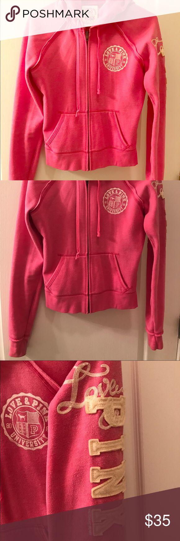 Victoria's Secret PINK zip up hoodie Pink zip up hoodie from Victoria's Secret. PINK decal along left arm. PINK Victoria's Secret Tops Sweatshirts & Hoodies