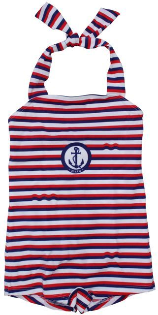 Maan - striped swimsuit - Blue, white and red striped halter swimsuit. Maan logo on the chest. Designed in collaboration with Niagara. 80% polyamide/20% elastan.