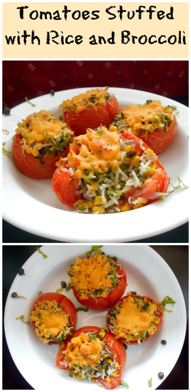 Stuffed Tomatoes with Broccoli, Rice, Peppers and Cheese!! Delicious and takes only a few minutes to make.  Perfect side dish.