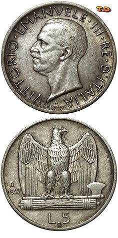 N♡T. Italy Years1927 Value5 Lire (5 ITL) MetalSilver (.835) Weight5 g Diameter23 mm Thickness1 mm