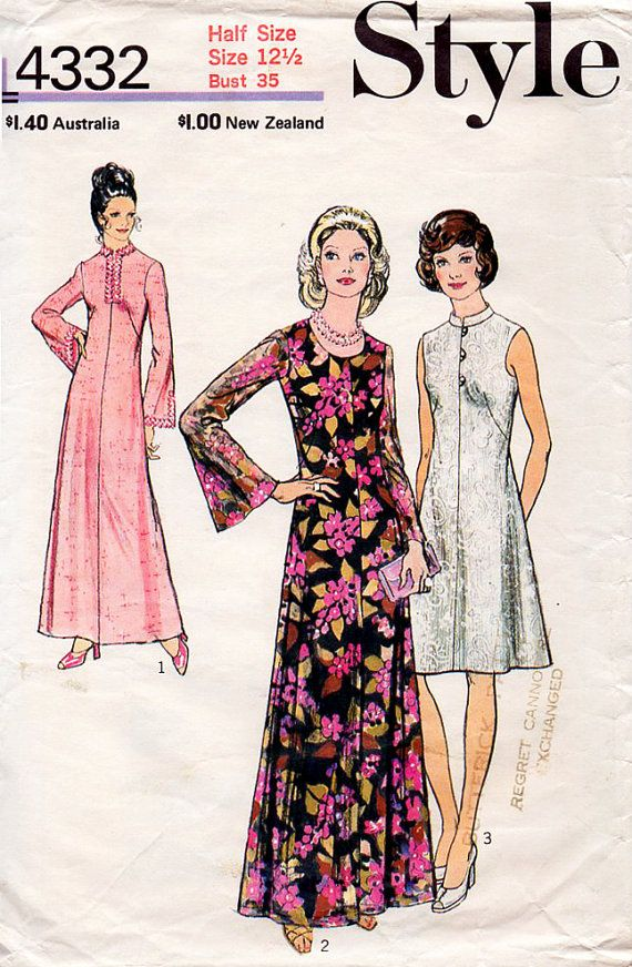1970s Evening Dress Vintage Sewing Pattern  by BessieAndMaive, $8.50
