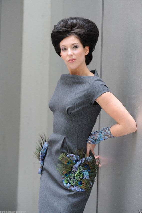 Vintage 1950s Style Gray Wool Pencil Dress W/ by Emogenecouture