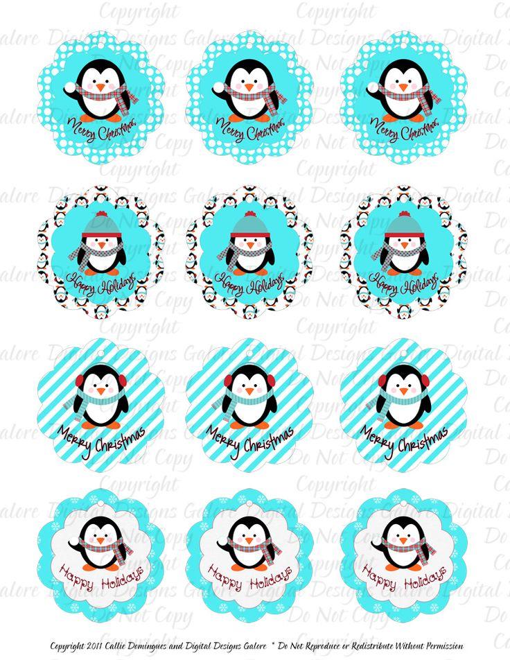 Teal Penguin Christmas Holiday Printable Gift Tags - Print ...