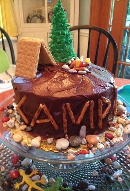 "Shortcut cake idea: Used pretzels to spell ""Camp Liam"", graham cracker tent, ice cream cone convered in store bought icing. And the best - red/yellow candles as the camplit fire"