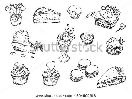 Sketches of food: desserts - stock vector