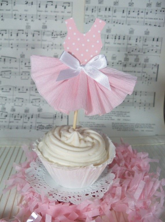 another cute ballerina cupcake topper. You could also make a few and decorate a cake this way too. Would look cute!