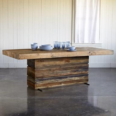 Generously wide planks of seasoned, sustainably-sourced reclaimed wood create a modern table that forms a striking focal point for your dining room or great room. Large enough to welcome family and friends—at the same time. Lacquered matte sealed finish