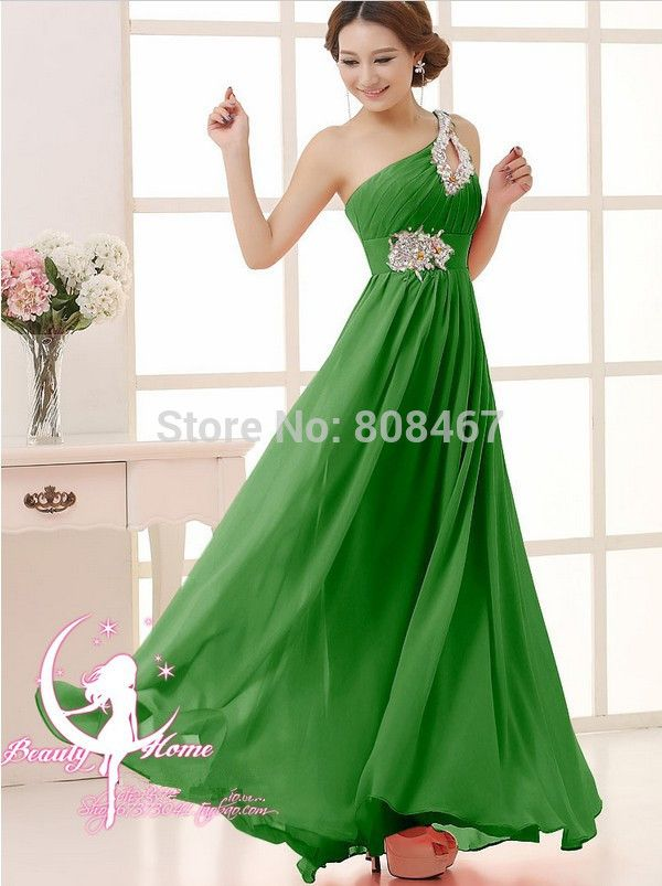 >> Click to Buy << 2016 free shipping One-Shoulder bead homecoming Party Ball gowns Formal Long Evening dresses vestidos de festa  Plus size TK089 #Affiliate