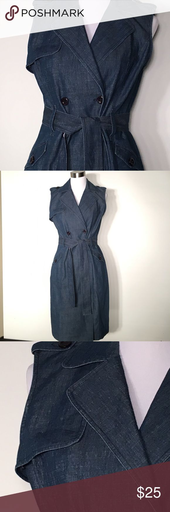 $15 today Spenser front button belted waist Denim Spenser front button belted waist dark Denim Midi dress cotton polyester Spandex. Beautiful front button Denim dress. Buttons are gorgeous with this dress. Very nice quality Denim. Size 10 Spense Dresses Midi