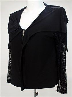 modagld Bayan Büyük Beden Kol Tül Detaylı Fermuarlı Siyah Ceket