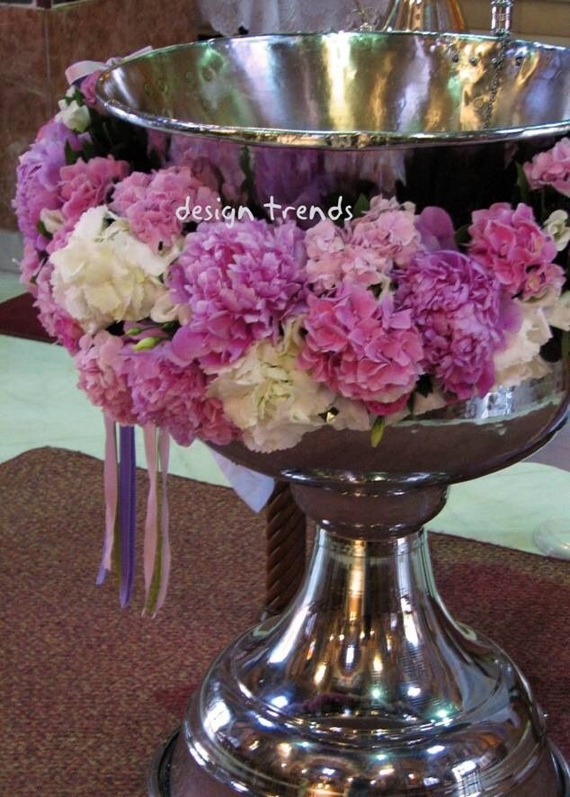 #Garland from a #Greek Orthodox #Christening with #hyndregea and #peonies.