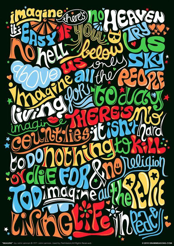 Illustration typographique de la chanson de Lennon Imagine, main-en lettres dans un style psychédélique.  ------  TAILLES : • Impression A2 = 59,4 x