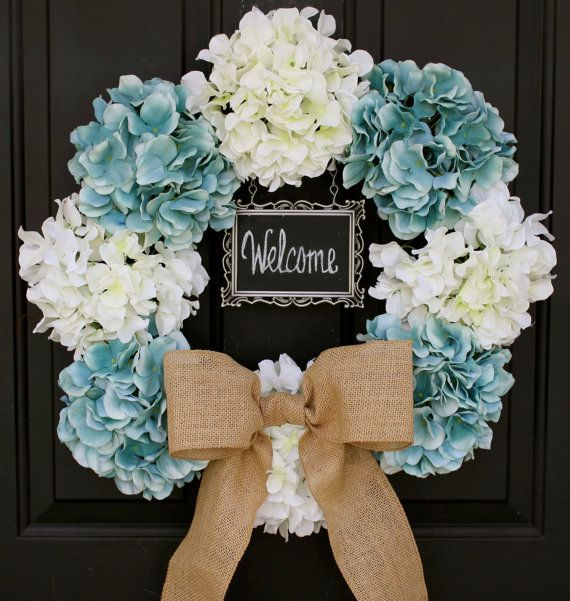 "Hydrangea Wreath - 19""  Creamy White & Blue 4x6 CHALKBOARD  - Burlap Bow - Spring - Wedding - Baby Boy Shower -Year Round - Initial Monogram on Etsy, $75.00"