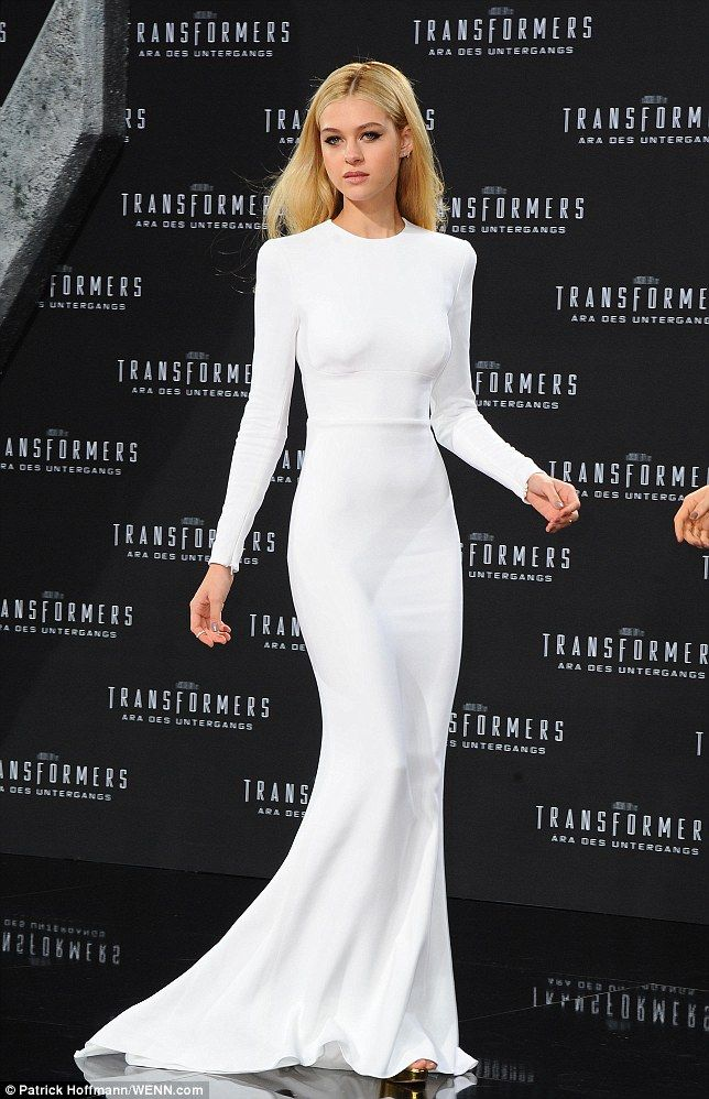 Angelic: Nicola Peltz was a vision in white at the European premiere of Transformers: Age of Extinction in Berlin, Germany