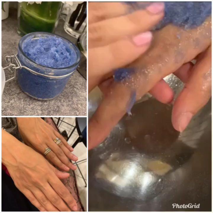 Scrubs Lab Blue Scrub سنفرة النيلة من اول استخدام رح تشوفين الفرق تبيض الوجه والاماكن الحساسه كل المواد المستخدمه طبيعيه إ Hair Remedies Silver Rings Remedies