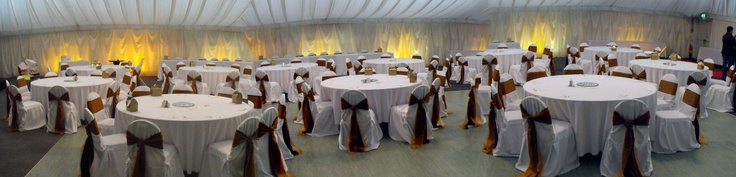 Double Chocolate Satin and Burnt Orange Organza Cravats on White Chair Covers