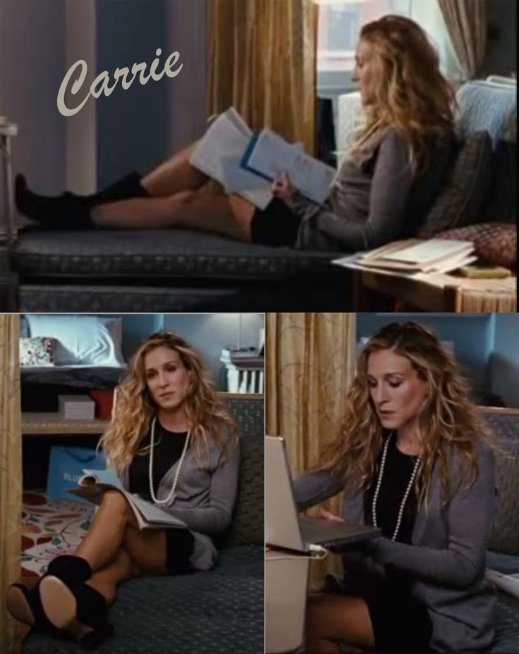 The Best movie outfits > The first: Carrie Bradshaw (Sex and the city 1. movie) Little black dress + grey cardigan + pearls + ankle heels #sexandthecity #carriebradshaw