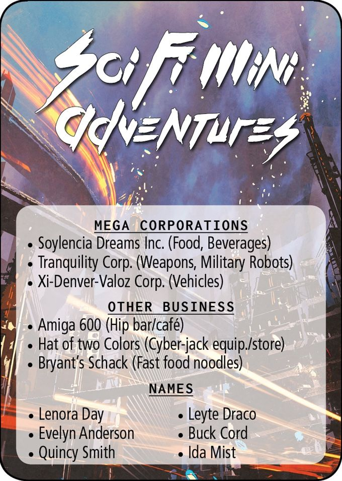 Sci-Fi/Cyberpunk Poker Sized cards with   40 mini adventures, 10 Mega Corp logos, 300 random business names and 300 random NPC names.