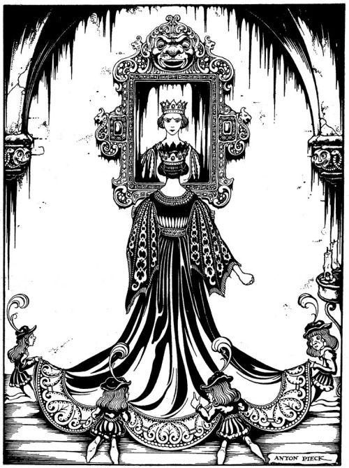 design-is-fine:  Anton Pieck, The evil queen,book illustration for Grimm's Fairy Tales, De sprookjes van Grimm, 1940. Netherlands. Via Omega / flickr