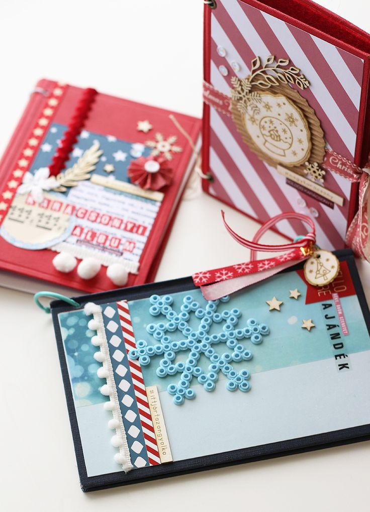 Christmas scrapbook albums- altered books by Fraupester