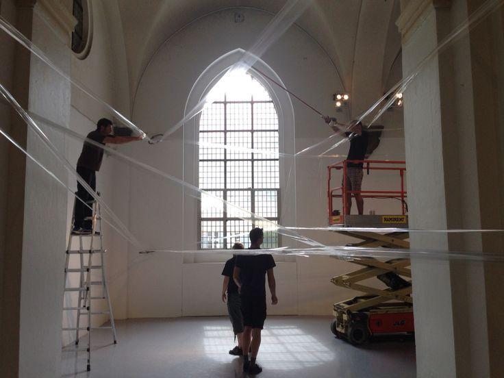 TAPE Copenhagen by Numen/For Use - installation day 1 at Nikolaj Kunsthal in Copenhagen. Exhibition on from August 15-23, 2015