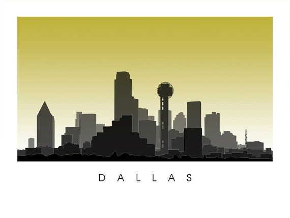 Dallas Skyline Texas Cityscape by CartoCreative on Etsy