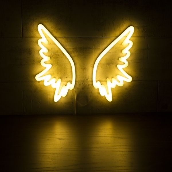 Angel Wings Neon Sign Wall Light White Neon Signs Neon Sign Bedroom Neon