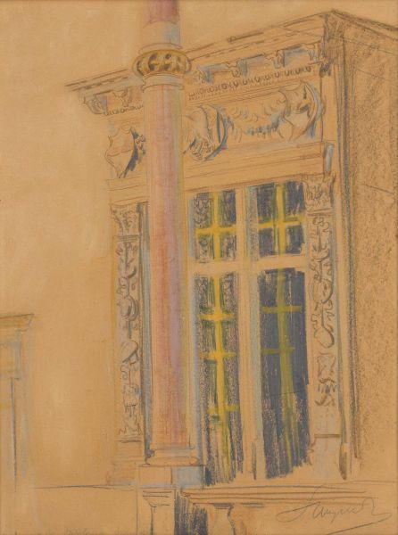 Wykusz w skrzydle zachodnim zamku na Wawelu - Leon Wyczółkowski