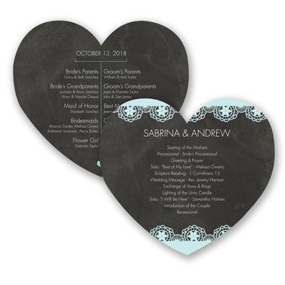 Chalkboard Lace - Wedding Program - Heart-shape, Vintage, Typography at Invitations By David's Bridal
