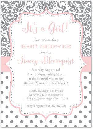 43 best girl baby shower invitations images on pinterest shower grey polka dots floral damask baby shower invitations filmwisefo Image collections