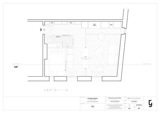 30m2 Flat in Paris,Floor Plan