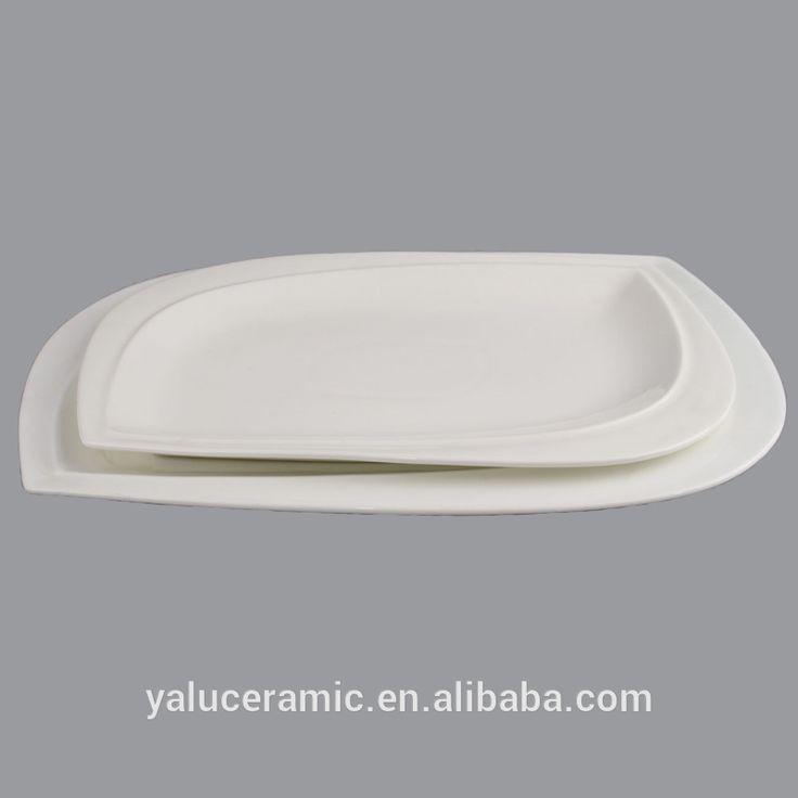 Logotipo Do projeto estilo longo olho-shaped branco liso de cerâmica pratos & bocas para o restaurante, hotel e casa casamento P-026