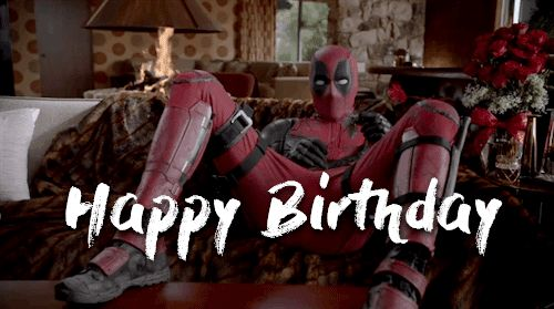 funny deadpool happy birthday gif