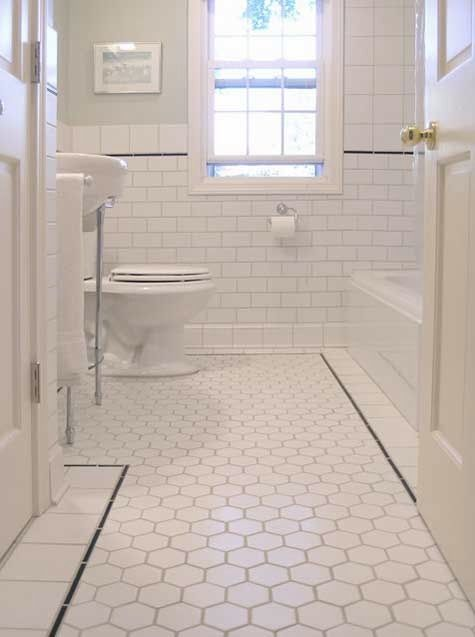 White bathroom floor tiles wow we want black grout and - White subway tile with black grout bathroom ...