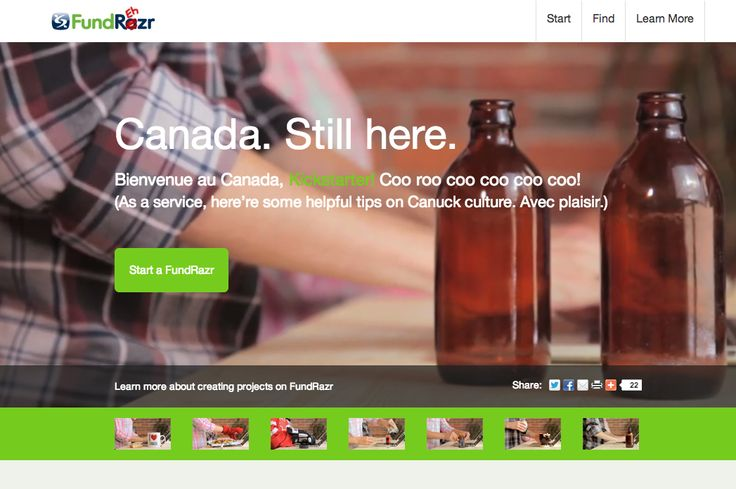 FundRazr shows Kickstarter what Canada is about http://fundrazr.com/canada/