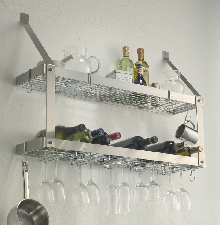 Stainless Steel Kitchen Shelves to Keep Your Small Kitchen Appliances: Wine Glass Rack Minimalist Look Stainless Steel Kitchen Shelves ~ dickoatts.com Kitchen Inspiration